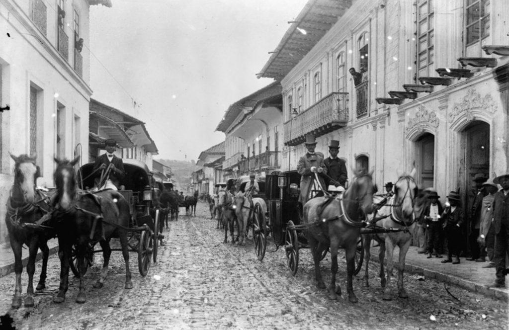 Imagem do final do século 19 em Cuenca, patrimônio cultural da humanidade
